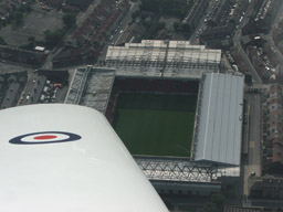 Flying over a football stadium