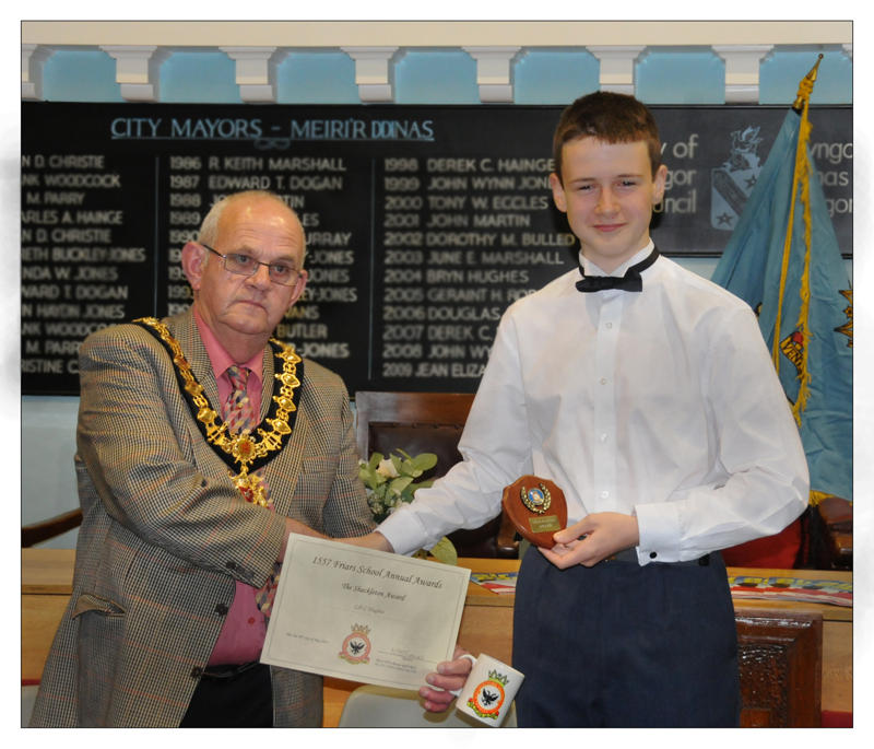 Mayor of Bangor, Cllr Huw Williams pictured with Cdt Callum Hughes.