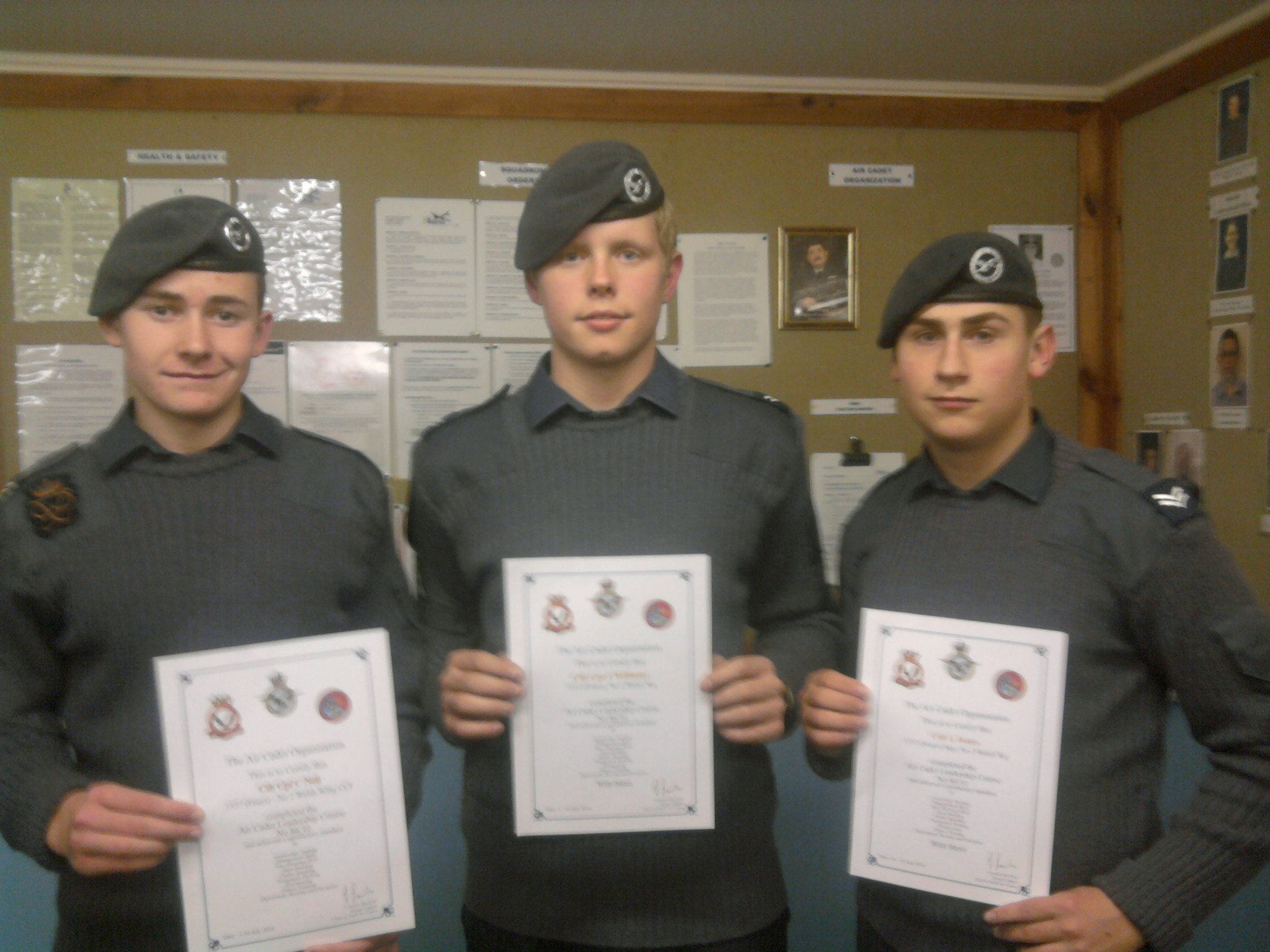 Sgt Craig Neil, Cpl Jacob Williams and Cpl Llyr Jones with their certificates