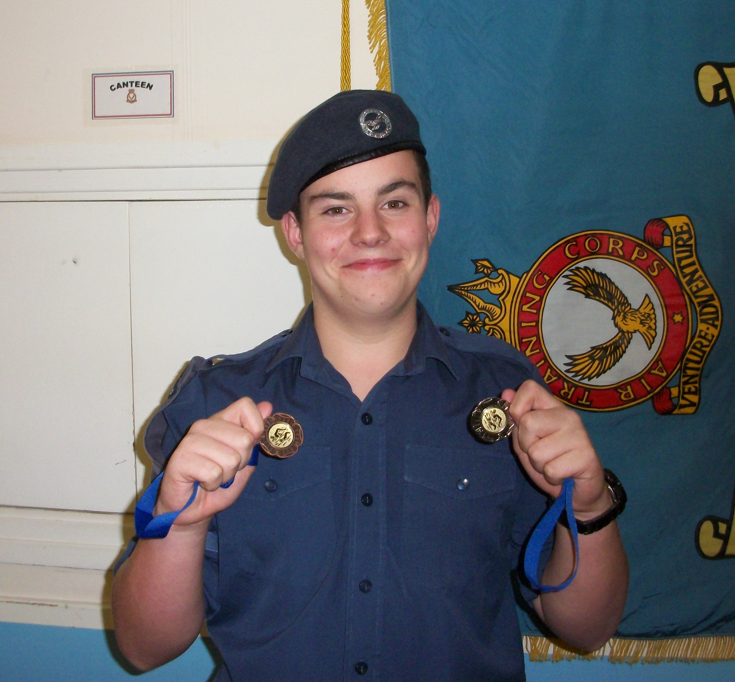 Cadet Newman with his medals